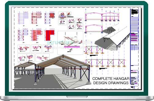 Steel Frame Hangar Complete Design Drawings Cad Dwg Dxf