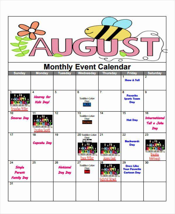 Monthly Event Calendar Template In 2020 Event Calendar Template