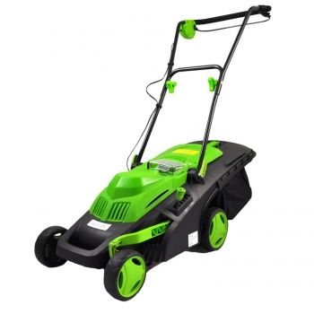 Cordless Lawn Mower, Electric Landscape Mower with Built-in 36V Battery, Cut Size Adjustable, Easy-Empty Grass Bin, Black