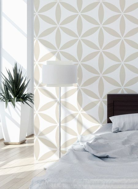 Flower Of The Life II Scandinavian Wall Stencil for DIY project, Wallpaper look and easy Decor, Geometric