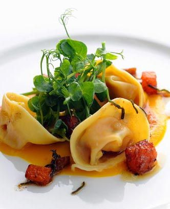 For this sumptuous pumpkin pasta dish from Stephen Crane, pumpkin, sage and chestnuts combine in a rich and buttery autumnal tortellini. This homemade tortellini recipe makes a comforting meal or a welcome starter for friends coming to dinner. To make this recipe vegetarian, omit the Parmesan and opt for a vegetarian substitute, like Old Winchester. See our vegetarian cheese post on our blog for more information.