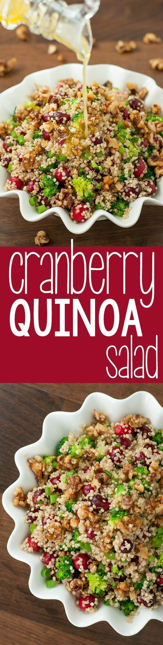 Cranberry Quinoa Salad with Candied Walnuts :: we're in love with this healthy gluten-free salad! (use fresh cranberries in the winter and dried cranberries in the Summer!)