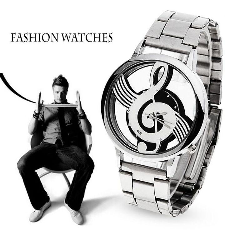 Men Silver Watch Fashion Music Note Design Luxury Stainless Steel Wristwatch New #Unbranded #Luxury
