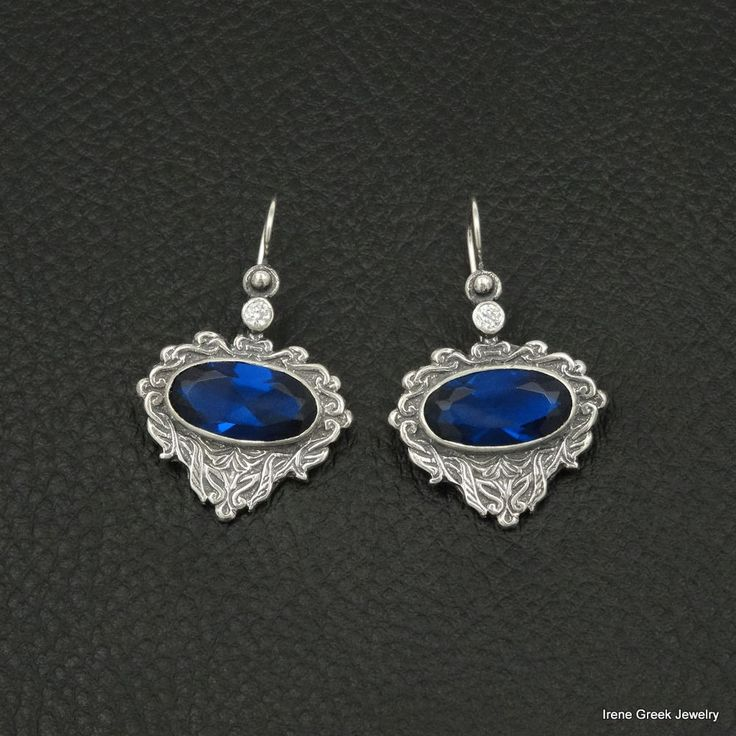 RARE SAPPHIRE CZ ETRUSCAN STYLE 925 STERLING SILVER GREEK HANDMADE ART EARRINGS #IreneGreekJewelry #DropDangle