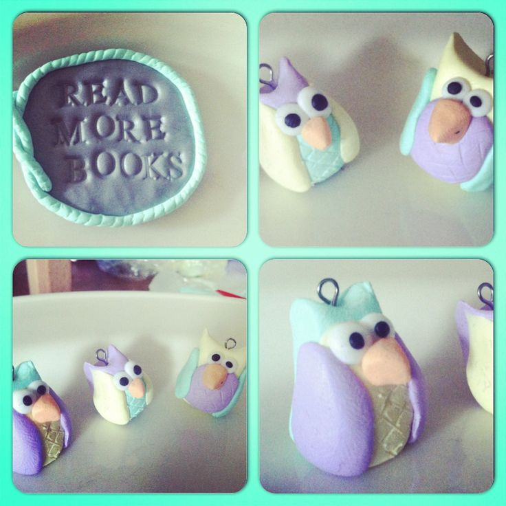 """Owls and a pin with the text """"read more books"""". Made of Fimo polymer clay. By me, of course."""
