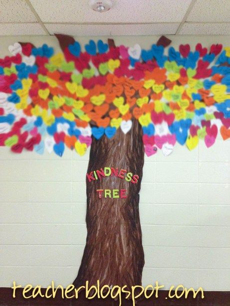 Kindness Tree has hearts to recognize students who are being kind.  Each color heart is for a different month.