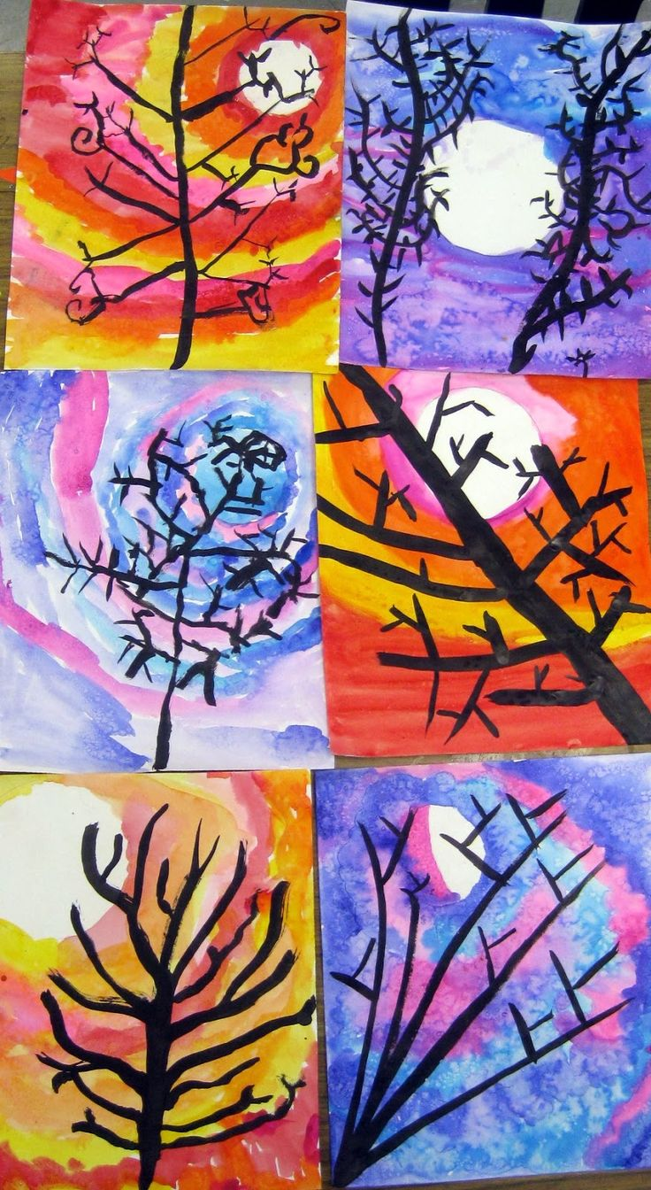 Cassie Stephens: In the Art Room: Painted Trees (A Work in Progress)--Very similar to the ones I did, variation of it possibly?