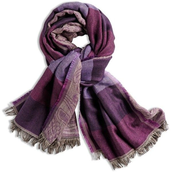 Chico's Paisley Stripe Purple Scarf found on Polyvore featuring accessories, scarves, eggplant, paisley shawl, purple shawl, striped scarves, chico's and paisley scarves