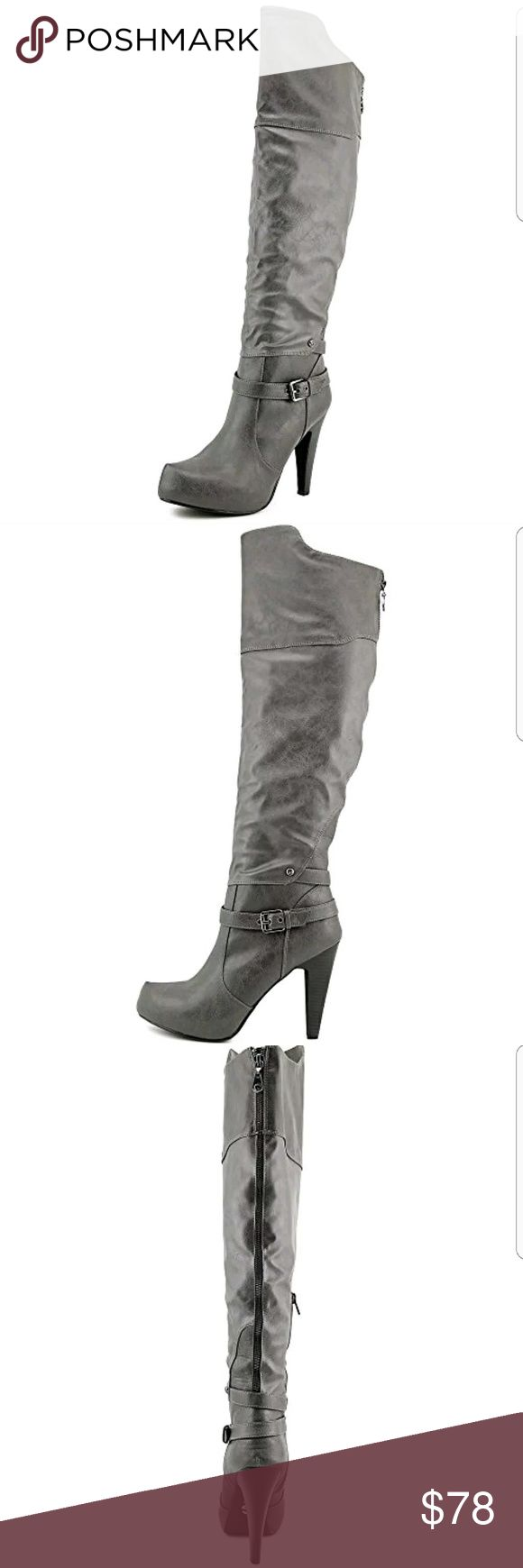 New G by Guess Trinna Fashion Boot Gray Zip 6 New Without Box Has tags on bottom  G by Guess Trinna Fashion Boot Over the Knee Buckle Designs Back has non-functional zippers There are zippers inside the boot that is made for easier on and off Dark Gray Synthetic Uppers Soles are Black Size 6 Great with dresses, skirts, skinny jeans, leggings  View all photos and ask any and all questions I have had these a few years.. So comfortable, but never wore. Only tried on Ask Questions Make Offers G…