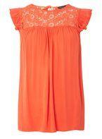 Womens Orange Lace Yoke Shell Top- Orange