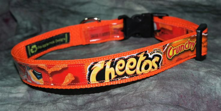 Adjustable Dog Collar from Recycled Cheeto's Crunchy Bags by squigglechick on Etsy