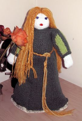 Tangled knitted doll