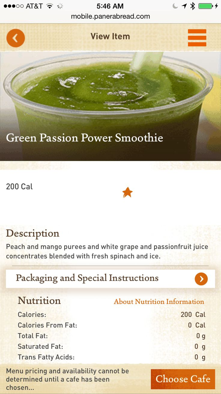 Panera Bread Green Passion Power Smoothie Nutritional Information