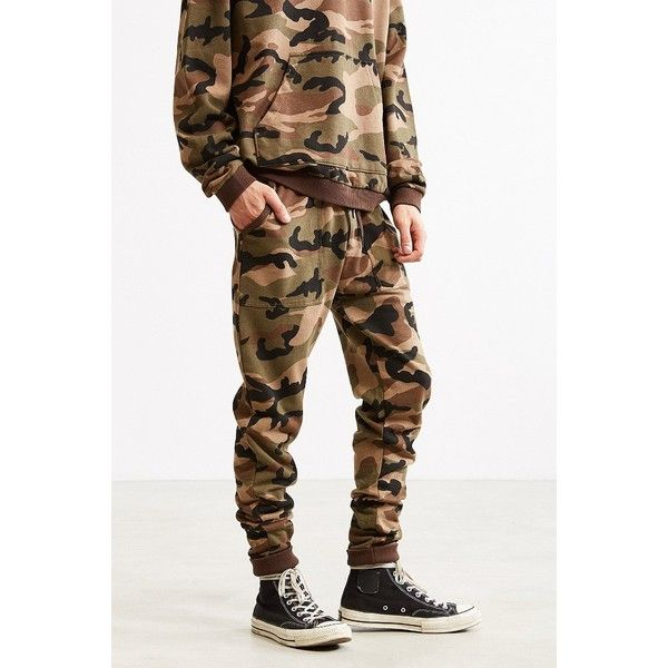 UO Camo Skinny Stacked Knit Jogger Pant ($49) ❤ liked on Polyvore featuring men's fashion, men's clothing, men's activewear, men's activewear pants and urban outfitters