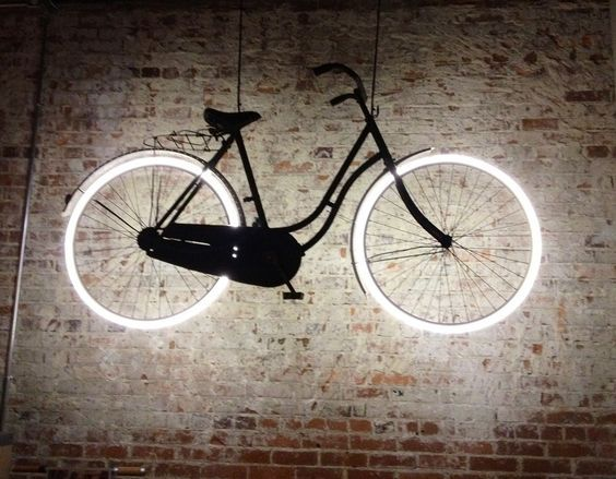 bicycle as art  20+ Unique Wall Lamps That Steal The Show