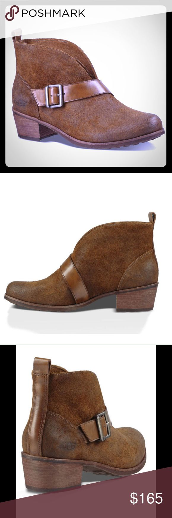 """UGG Wright Belted Booties New with box. Never worn. Retail $185. A dramatic V-split boot shaft and an asymmetrical buckle strap give this distressed leather bootie downtown street cred while a genuine shearling footbed provides all-day comfort. Chestnut color. 1 3/4"""" heel height. 4"""" bootie shaft. Size 6. No trades/modeling. Reasonable offers welcome via the offer button. UGG Shoes Ankle Boots & Booties"""