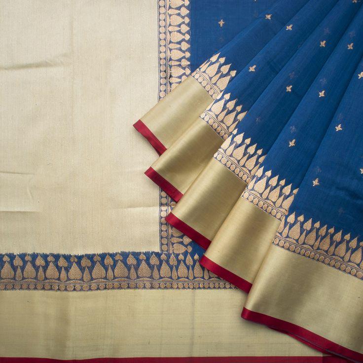 Shivangi Kasliwaal Handwoven Banarasi Linen Silk Sari 1012971 - / Shivangi Kasliwal - Parisera