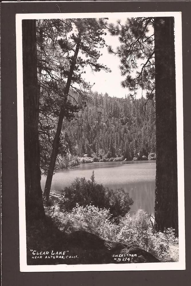 """Postcard is in nice condition. Shows a little corner and surface wear.<br/><br/>Pub.J. H. Eastman. #B-214. Clear Lake near Alturas, Calif.Real PhotoPostcard. This3 1/2x5 1/2"""" Standard Size postcardis in niceusedcondition. SeePictures.EKC Stamp Boxon the back (card should be 1940s). Card isc..."""