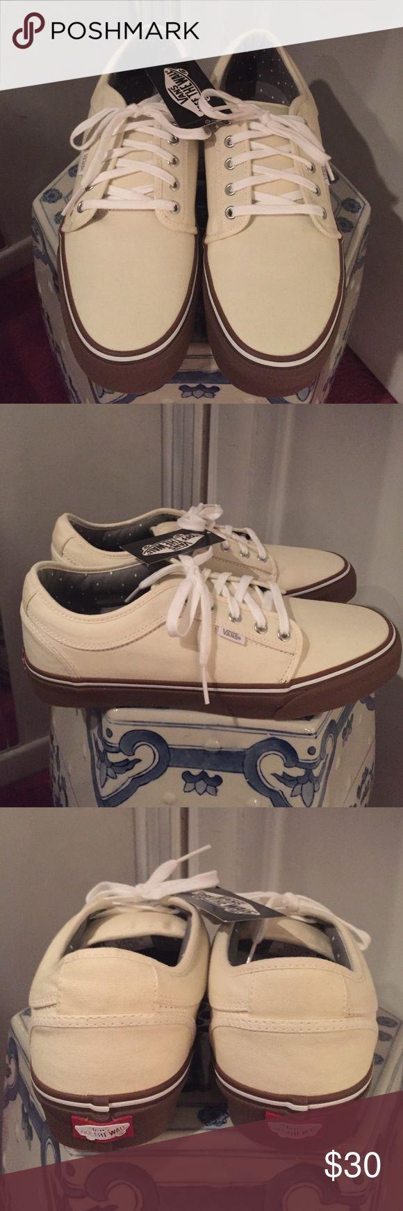 New Authentic Vans men's shoes Cream colored canvas material Vans Shoes Sneakers