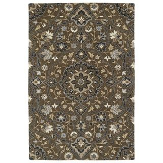 For Hand Tufted Perry Medallion Chocolate Wool Rug 8 0 X 10