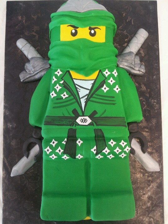 Preston's Green Ninjago cake purchased at Couture Cakes Greenville.