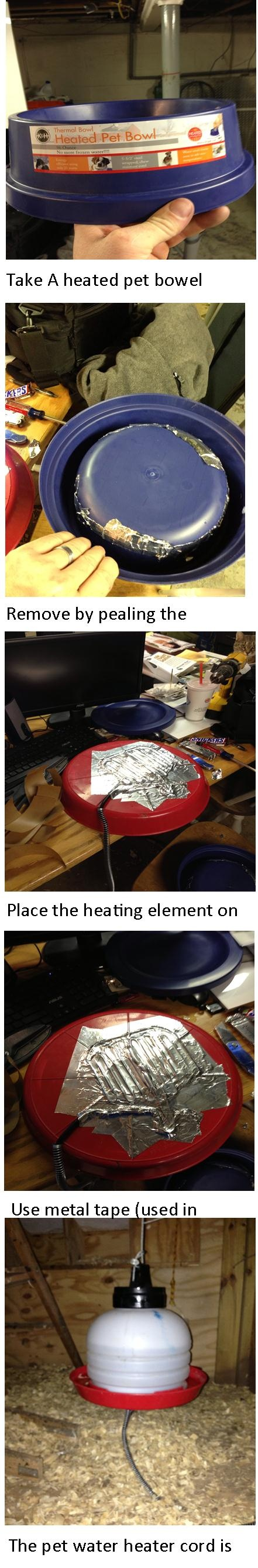 Chicken Water heater - why not just use heat tape?