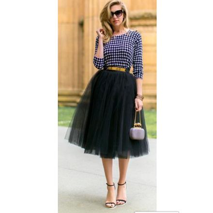 Black Plain Mesh Grenadine Draped Fluffy Puffy Tulle High Waisted New Faldas Adorable Tutu Midi Skirt - Skirts - Bottoms