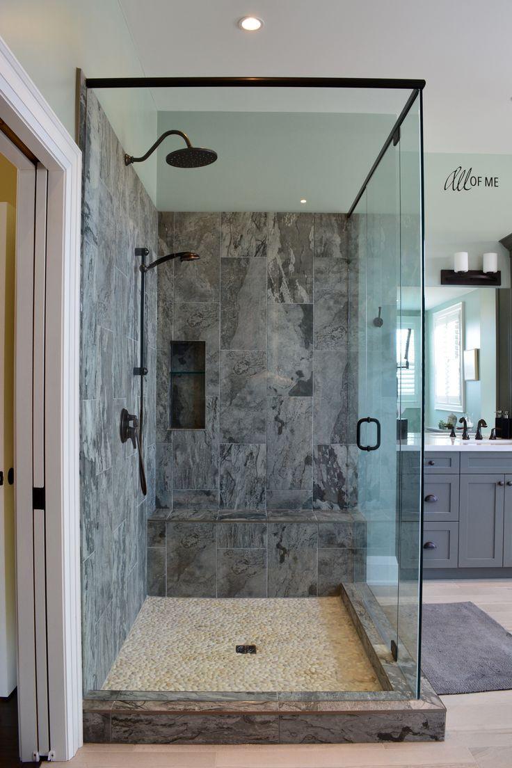 Master bathroom with grey shaker vanity porcelain tile for Oil rubbed bronze bathroom ideas