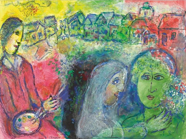 Marc Chagall - Rencontre, 1980. Gouache, pastel, brush and ink and pencil on paper