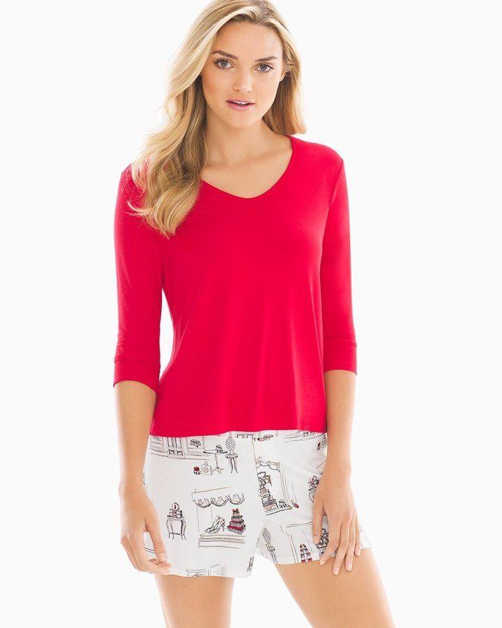 Soma Intimates Cool Nights Boxer Shorts Pajama Set Accessorize Festive Red
