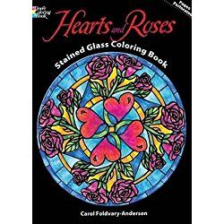 Valentine's Day Coloring Book Hearts and Roses Stained Glass for kids