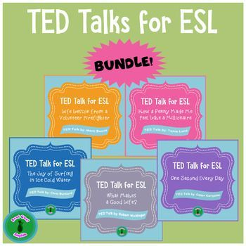 Practice ESL listening, speaking, reading, writing, vocabulary, and grammar skills with this bundle of four lessons created from TED Talks for upper intermediate and advanced ESL students.