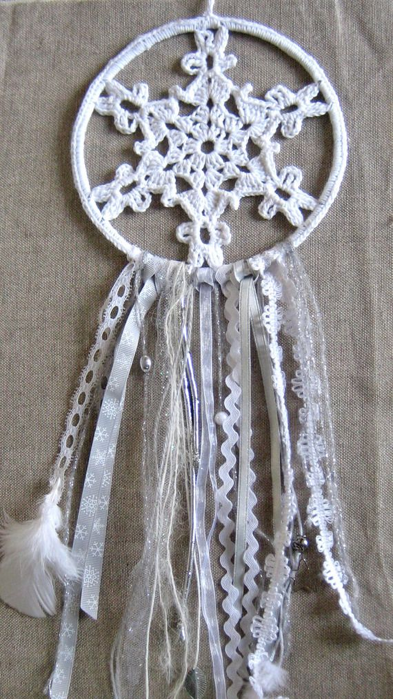 "Dreamcatcher : l'attrape rêves "" flocon de neige au crochet """