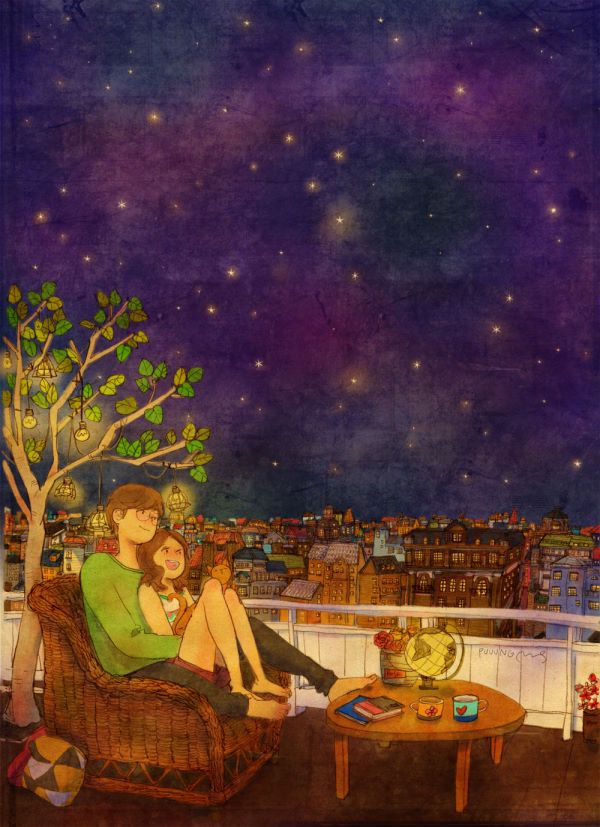 테라스에 앉아서 별을 구경해요. Sitting on the terrace, gazing at the stars.