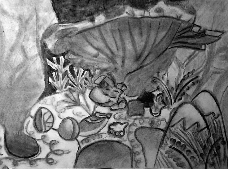 Rayman's Dream  (first experiment ever w/ carbon); Size: A3, Technic: carbon; Game: Rayman concept art (Ubisoft, 1995)