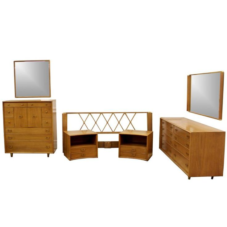 Mid-Century Modern Paul Frankl Satin Birch Emissary Complete Bedroom Set | From a unique collection of antique and modern bedroom furniture at https://www.1stdibs.com/furniture/more-furniture-collectibles/bedroom-furniture/