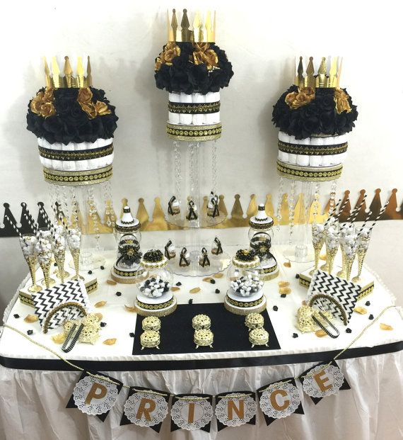 BLACK And GOLD Baby Shower Candy Buffet Centerpiece With Baby Shower Favors  / Boys Black And Gold Prince Baby Shower Theme And Decorations