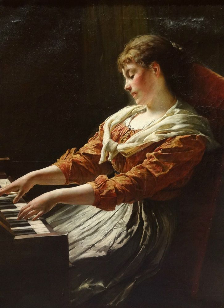 "Replica manual art painting""Century German Lady Playing Piano Portrait""24x36Inch 