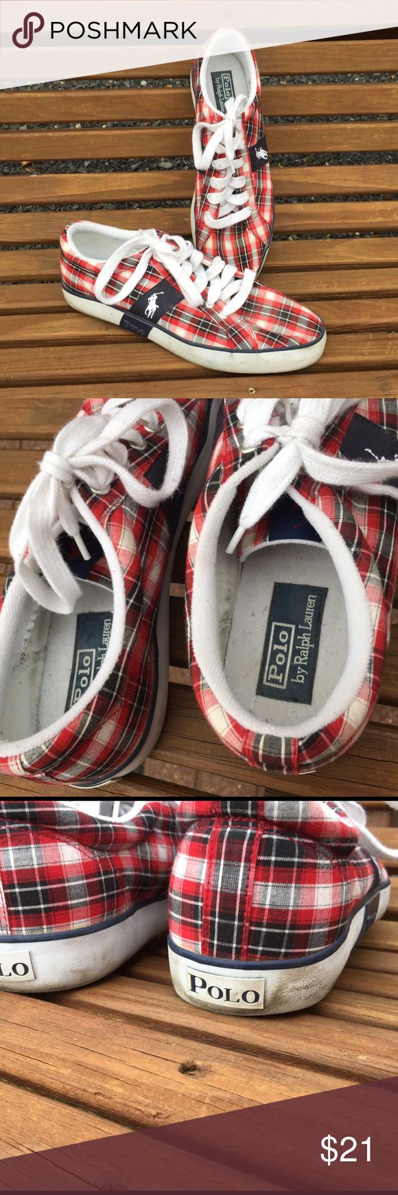 Polo by Ralph Lauren Canvas Plaid Boat Shoes 12 D Size 12 D. Canvas. Do show some signs of wear (see pictures for details) but still a ton of life left in these. Polo by Ralph Lauren Shoes Boat Shoes