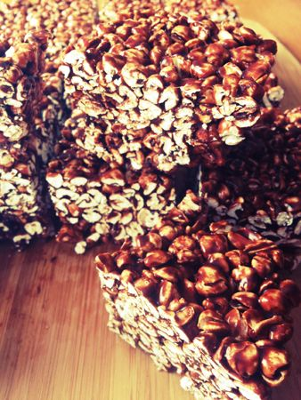 Puffed Buckwheat? ... sounds amazing ... Gluten Free Chocolate Buckwheat Puff Squares (no gelatin), I would make this with brown rice syrup instead to make it corn free