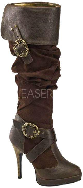 Brown Pirate Steampunk Musketeer Boots, Carribean 216 [Carribean-216-BNPUMF] - £73.95 :