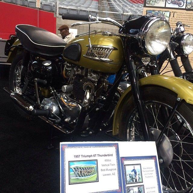 1957 6T Thunderbird on display today at the Progressive International Motorcycle Show at Phoenix University Stadium. #Padgram