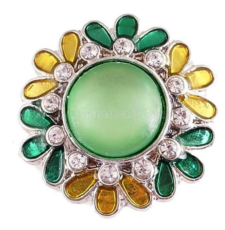 Green Yellow Stone Flower 20mm Snap Charm Interchangeable For Ginger Snaps