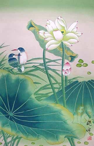 If you would like to own this painting, enter code PINTEREST20 at checkout to get 20% off with free shipping anywhere in the world!! This beautiful water color painting of a lotus flower with birds sunbathing is an original painting by Shao Yuin.