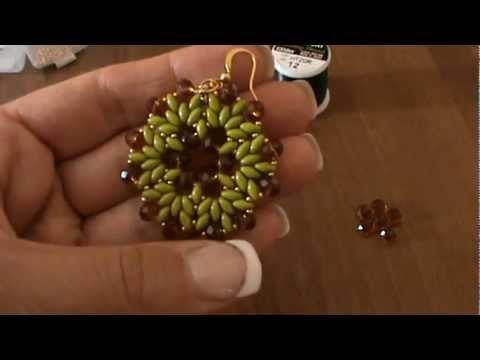 DIY Tutorial modulo BUCANEVE per ciondolo o orecchini Superduo Cipollotti Rocailles Earrings beads - YouTube
