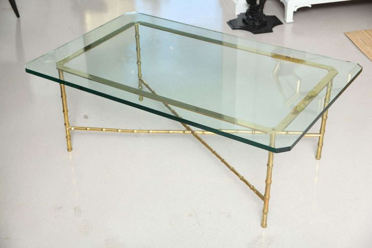 coffee tables bamboo and glass   Vintage Brass Faux Bamboo Coffee Table with Glass Top image 2