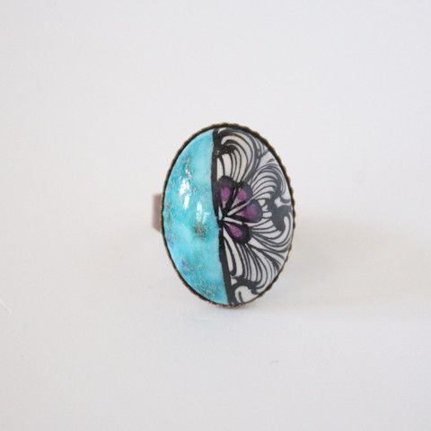 Traditional Floral Turquoise Turkish Ceramic Ring