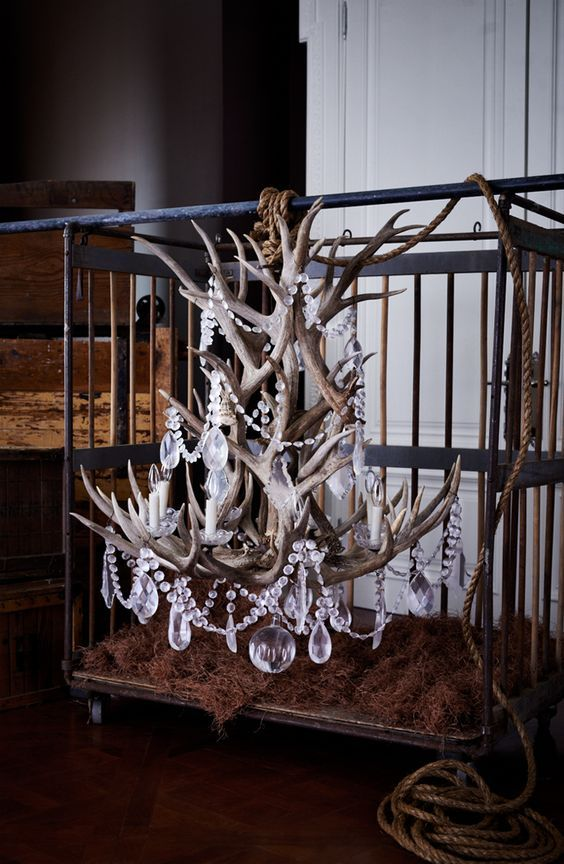 Ralph Lauren Home's Stag Chandelier combines naturally shed antlers with crystal to define rustic glamour:
