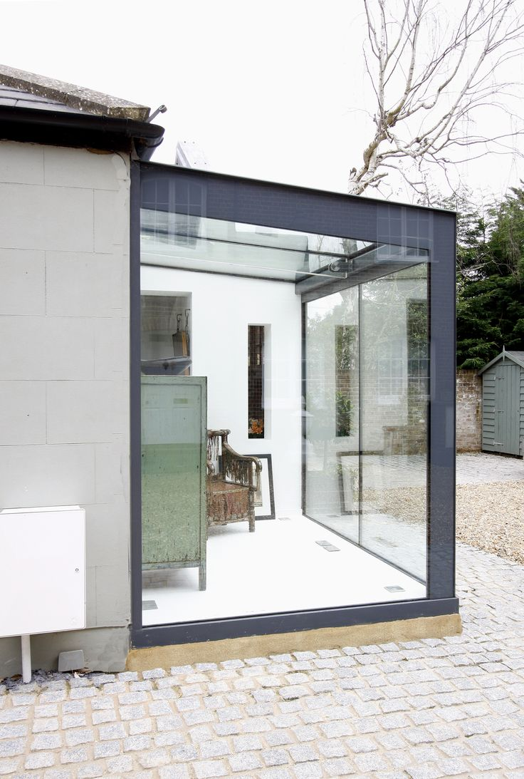 glass box extension to home in esher with grey backpainted. Black Bedroom Furniture Sets. Home Design Ideas