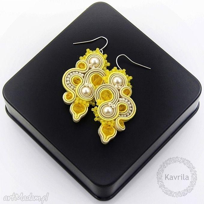 • pendientes hechos a mano, joyas - pendientes de Soutache Edir citrino